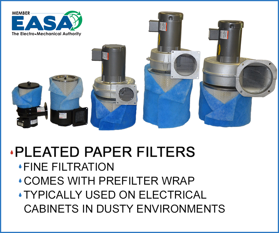 centrifugal blowers with pleated paper filters